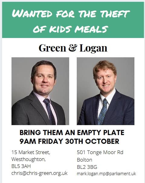 Maggie stole OUR milk, now they want to steal our kids free school dinners. Merry Christmas from The Tory Party! Empty plate protest outside